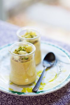 Spiced pumpkin pots de crème with sautéed apples and pistachios---mine will not contain pistachios