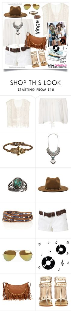 """""""Festival trend: Fringe!"""" by monica-dick ❤ liked on Polyvore featuring Topshop, Alex and Ani, H&M, Janessa Leone, Chan Luu, Wallflower, Ray-Ban, Vision, Dot & Bo and Valentino"""