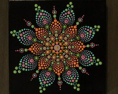 Bright Dot Mandala on wrapped canvas with rhinestones.