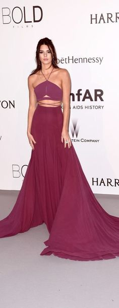Kendall Jenner wearing a sexy purple cutout dress at the 2015 amFar gala in Cannes