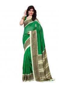 Shonaya Green & Beige Color Silk Printed Saree With Unstitched Blouse Piece