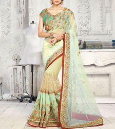Green Net #GeorgetteSaree #Indianroots