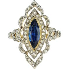 #VintageBeginsHere at www.rubylane.com @rubylanecom -- Elegant Edwardian French Sapphire and Diamond Ring
