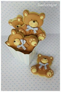 Galleticas de ositos para baby shower. #RecordatoriosBabyShower