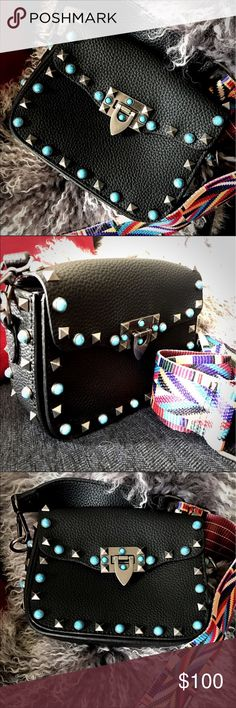 Studded/Tribal Strap Purse Small leather cross body purse with tribal decorated strap. Turquoise and old silver studs. Measurements are shown on pictures. Bags Crossbody Bags