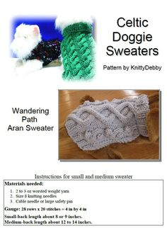 Dog Sweater Knitting pattern PDF - Wandering Path Aran cable design by KnittyDebby on Etsy