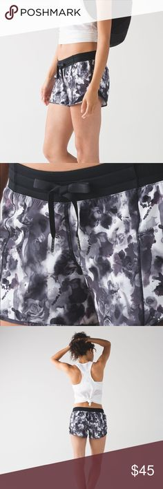 """Lululemon Shorts Never worn, but no tag. Size 8. Black and white floral print. 4"""" inseam. Low rise. Great condition. lululemon athletica Shorts"""