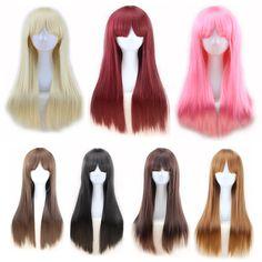 美しい深いバーガンディかつらコスプレピンクかつら長い髪ブラウンストレートかつらブロンド女性耐熱合成かつらで前髪
