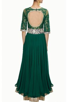 Green and blue applique work anarkali set available only at Pernia's Pop-Up Shop.