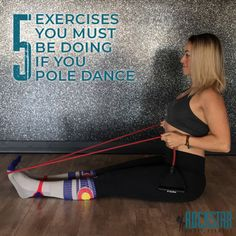 These 5 exercises are geared to strengthen the under-developed muscles and imbalances that may result from pole dancing. These will help you gain the strength and mobility you need. Pole Fitness Moves, Pole Dance Moves, Pole Dancing Fitness, Fitness Exercises, Barre Fitness, Workout Fitness, Aerial Dance, Aerial Yoga, Aerial Silks