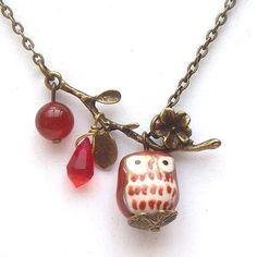 Antiqued Brass Branch Agate Quartz  Porcelain Owl Necklace.