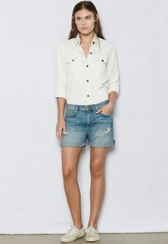Women's THE BOYFRIEND ROLLED SHORT of 100% Cotton/ Machine Wash | Women's Women by CURRENT/ELLIOTT