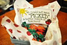 Teacher / Volunteer Appreciation from recycled strawberry basket