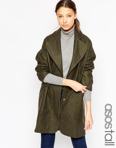 Image 1 of ASOS TALL Coat In Cocoon Fit With Patch Pockets And Belt