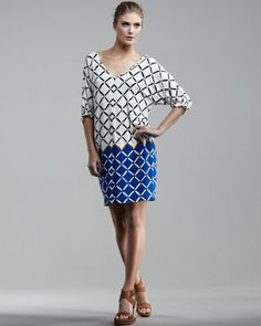 Nadia Half-Sleeve Printed Shift Dress by Tibi at Bergdorf Goodman.