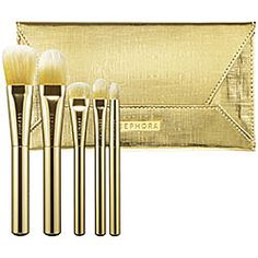 SEPHORA COLLECTION - 24 Karat Envelope Clutch Brush Set  <3 A rich and beautiful brush set accented with gold ferrules and an elegant pouch <3