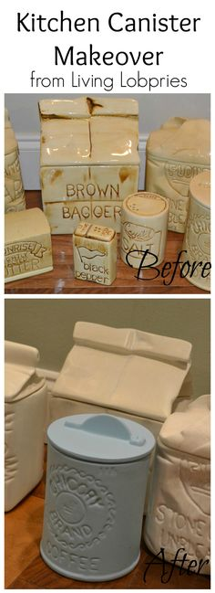 Vintage Canister Makeover! Super easy with Ceramic canisters, Acrylic paint, and an oven!