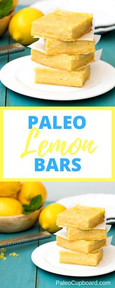 Paleo Lemon Bars - So tangy and tart, the perfect combination! www.PaleoCupboard.com