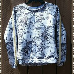 Nwot  Vintage style Floral design top 95% Polyester  5%  Spandex  Beautiful Gold pearl trimming Floral design sweater top. This has no tags  (small) Made in China  No flaws mint new condition. Never worn.  Any questions please feel free ?  Smoke / pet free home  Thanks for looking and stopping by xoxo  * * * Buy more save more money!  ***PRICE IS FIRM * THANKS Lulumari  Tops Tees - Long Sleeve