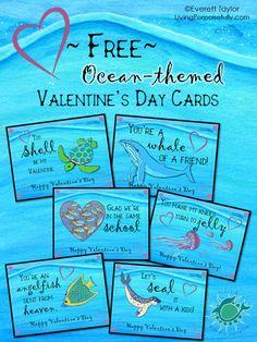 Ocean valentines day greetings freebie pinterest ocean free ocean valentines day cards printable e greetings livingporpoisefully m4hsunfo