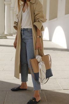 all the basics: trench, high waisted jeans, white tee and gucci slides | @andwhatelse