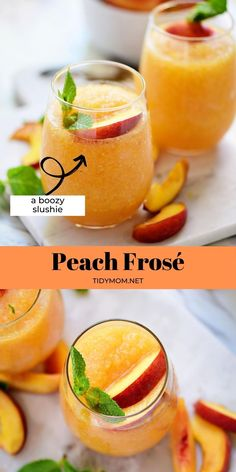 This favorite Peach Frosé is a super easy and refreshing boozy slushie. Using frozen peaches and your favorite rosé wine, it's sure to be the happy hour hit! PRINTABLE RECIPE at TidyMom.net Holiday Drinks, Fun Drinks, Yummy Drinks, Alcoholic Drinks, Fruit Recipes, New Recipes, Vegan Recipes, Drink Recipes, Family Recipes