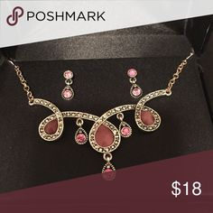 🆕Pink and Silver stone and Earring set This set is so much prettier in person earrings are dainty pink and silver very nice makes a great gift Jewelry Necklaces