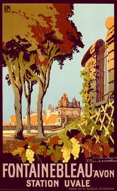 Fontainebleau - Avon - illustration de Julien Lacaze - 1926 - France -