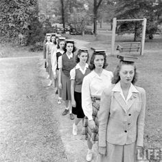 Girls learning good posture at Judson College. 1946