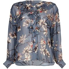 Ghost Naya Blouse, Maddy Bloom (€51) ❤ liked on Polyvore featuring tops, blouses, ruffle sleeve blouse, button blouse, floral tops, long sleeve blouse and frilly blouse