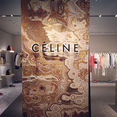 Red multicolor onyx at the Celine boutique. Retail Interior Design, Retail Store Design, Interior And Exterior, Retail Shop, Commercial Design, Commercial Interiors, Branding, Store Concept, Celine