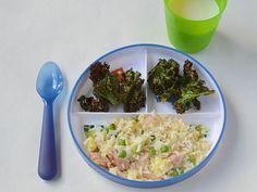 Jamón, arroz frito, kale y papas