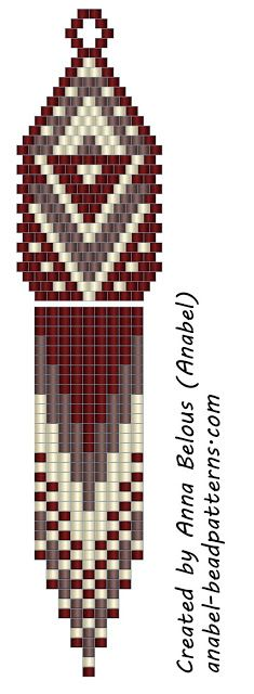 Scheme-mosaic earrings weaving / Peyote earrings - free beading pattern