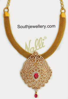 Gold Mesh Necklace with CZ Stones Pendant - Indian Jewellery Designs Gold Jewelry Simple, Stone Pendants, Gold Pendants, Amai, Jewelry Design, Cz Stones, Bridal Jewellery, Gold Jewellery, Diamond Jewelry