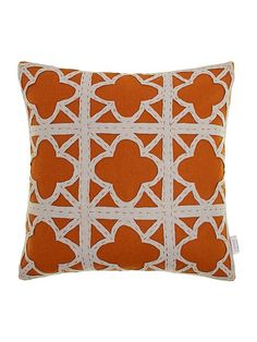 Felt applique maze cushion, rust 50sq 45