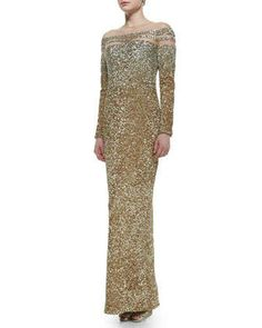 Sheer-Inset Ombre Sequined Gown by Pamella Roland