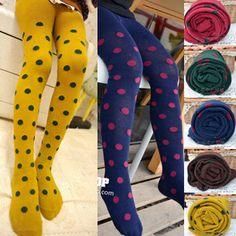 Girls Winter Tights Kids Top Fashion Dot Tights Cotton Child Tights Knit Pantyhose Gir
