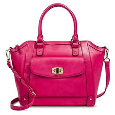 Merona Tote Handbag with Turnlock; pink faux leather