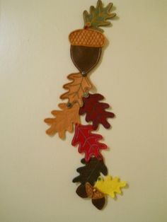 acorn and leaves felt wall hanging