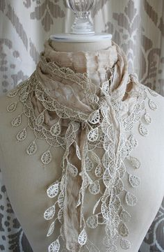 ANTIQUE IVORY lace scarf, vintage Victorian inspired lace scarf in ecru, free gift boxing. $12.00, via Etsy.