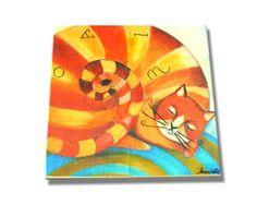 """Mattonella 15x15 """"Gatto chiocciola"""" ideato da LAURA BALLA — La Casa di Ninni"""