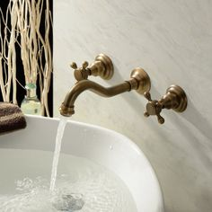 Lightinthebox?? Two Handle Wall Mount Antique Inspired Solid Brass Bathroom Sink Faucet Lavatory Vanity Bathtub Mixer Taps Long Curve Spout Vessel Sink Bath Shower Plumbing Fixtures Cheap Discount Shower Set Faucets Roman Tub Bar Faucets ** Be sure to check out this awesome product.