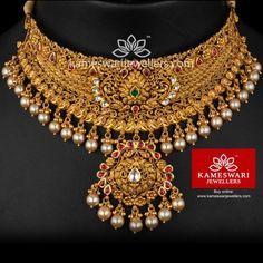 Gold Jewelry For Wedding Key: 8036284099 Gold Chocker Necklace, Choker Necklace Online, Chokers, Choker Necklaces, Gold Choker, Choker Jewelry, Pendant Necklace, Earrings, Gold Temple Jewellery