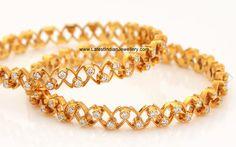 Amazing Diamond bangles with gold cut work - Latest Jewellery Designs India Jewelry, Jewelry Sets, Gold Jewelry, Jewelery, Gold Bangles Design, Jewelry Design, Diamond Bangle, Diamond Jewellery, Wedding Jewelry
