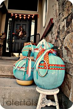 House numbers added to colorful pumpkins. Festive addition to your porch great for any Halloween party.
