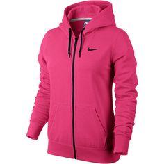 Nike Club Fleece Full-Zip Hoodie ($44) ❤ liked on Polyvore featuring activewear, activewear tops, nike, nike sportswear and nike activewear