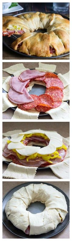 Genius: a sandwich ring! Use cold cuts (salami, ham, whatever), hot peppers, cheese, wrap up in savoury pastry (ex. pillsbury crescent rolls), bake and eat!