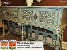 Painted Restorations, https://www.facebook.com/pages/Painted-Restorations/423500301101291, created this decorative look with General Finishes Persian Blue and Antique White Milk Paint. We'd love to see your projects made with General Finishes products! Tag us with @GeneralFinishes and make sure to let us know which products you used! #generalfinishes #gfmilkpaint #paintedfurniture