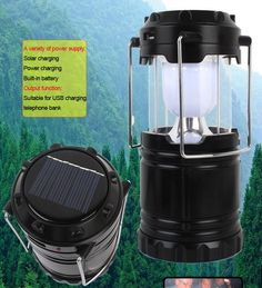 Portable Solar Lantern - Rechargeable with Charging Cable + USB Port