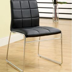 Features:  -Frame material: Metal.  -Chair is supported with 2 bars running across the back of the chair and the seat..  Frame Material: -Metal.  Number of Items Included: -2.  Seat Upholstery Materia